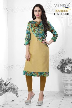 Party Wear Soft Silk Kurti With Digital Printed.