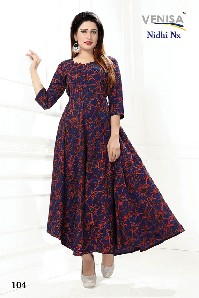 Party Wear Semi Rayon Crepe Rayon Kurti With Printed.