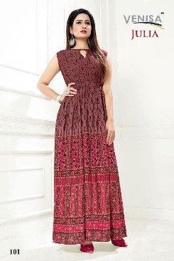 Party Wear Heavy Rayon Kurti With Digital Printed.