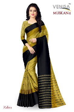 Party Wear Handloom Cotton Soft Silk Saree With Jaquard Butti.