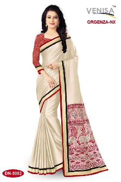 Party Wear Top Dyed Block Print Saree With Jacquard Brocket blouse pc.