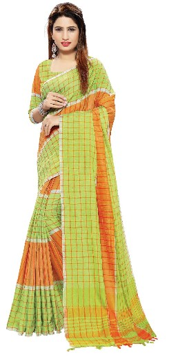 Casual Wear Cotton Linen Saree With Handloom Cotton.