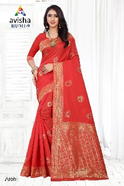 Party Wear Banarasi cotton Silk Saree with Blouse