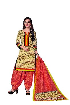 Party Wear Readymade Cotton Printed Suit